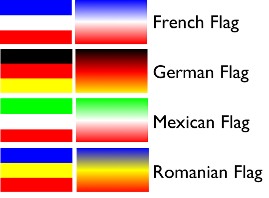 image of the french, german, mexican, and romanian flag color gradients from GIMP 2 point 6