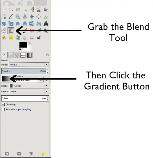 The GIMP Toolbox and Tool Options Dialog