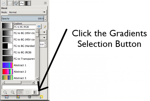 The GIMP Gradient Selector Window